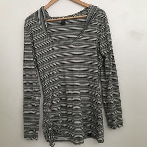 PrAna striped ruched side hoodie